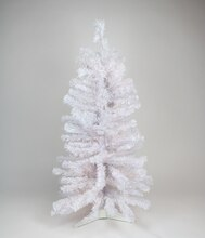 "2 ft. x 17"" Unlit White Iridescent Pine Tree, 64 Tips"